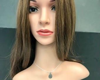 Diamond  Teardrop Pendant, Pave Diamond Pendant, Pave Teardrop Necklace, Approx 19 x 11mm. Sterling Silver