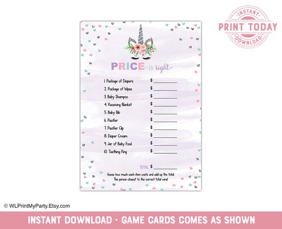 Price Is Right Game Baby Shower Games For Baby Girl Shower Unicorn