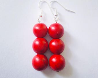 Round Dyed Howlite Bead Earrings