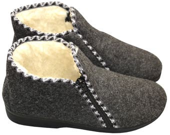 Sheep wool  slippers felt women men moccasins boots
