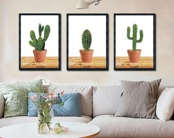 3 Poster Set, Printable Poster, Art, Living room Decor, Large Printable Poster, Digital Download, Dots, Cactus, Cacti
