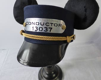 Custom Mickey Ears Conductor Hat, Trolley Hat, Train Conductor hat