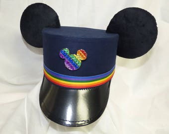 Custom Mickey Ears Pride Conductor Hat, Rainbow Trolley Hat, Train Conductor hat