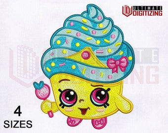 Shopkins Cupcake Queen Machine Embroidery Design | 4x4, 5x7, 6x6, 8x10 Hoop | Shopkins Cupcake Queen Embroidery Design | Ultimate Digitizing