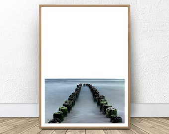 Coastal Art Decor, Pier Print, Beach Home Decor, Beach Life, Ocean Water Pier, Printable Large Pier, Seascape Print, Dock Print, West Coast