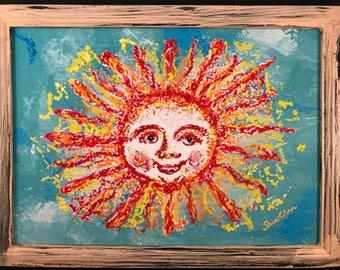 Framed Art Print: The Smiling Mother Sun - Digital Drawing, Shabby-chic Frame, Modern, Wall Art, Home Decor