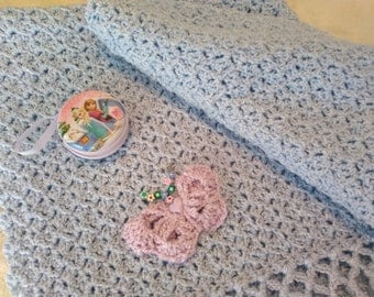 Adorable Newborn Baby Blue Baby Blanket with Purple Butterfly, Baby Coverlet, Afghan (Free Gift with Purchase)
