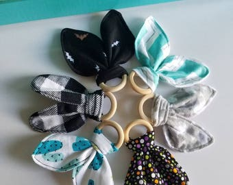 Wood Ring Bunny Ear Teether, made to order