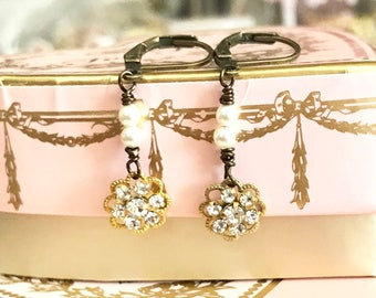 dainty dangle earrings with clear Swarovski crystals and pearls on antique brass lever backs  #1101-12