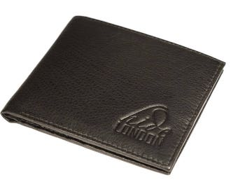 Black Mens Slim Soft Luxury Genuine Leather Bifold Credit Card Holder Wallet