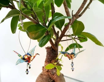 Blue and yellow cranes origami earrings