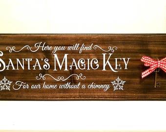 Wooden Magic Key Sign - Santa's Magic Key - Christmas Sign - Santa Key - No Chimney - Christmas Decoration - Personalised Sign