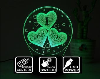 I love you led lamp,Personalized 3D Illusion ,7 Colors changing LED Lamps With Remote Controller,Can add name or text
