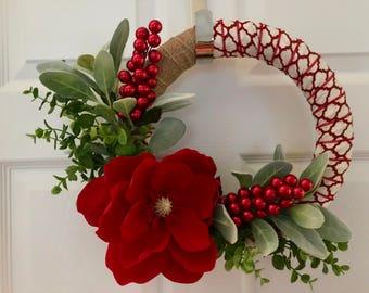 Christmas Wreath - red & white, hydrangea, lamb's ear, eucalyptus