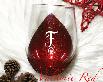 Initial//Glitter Dipped//Wine Glass