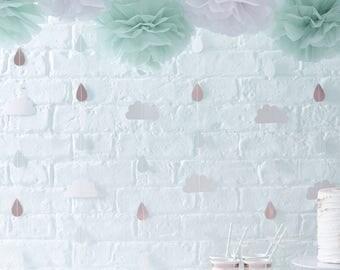 Hello World Cloud & Raindrops Baby Shower Backdrop Decoration