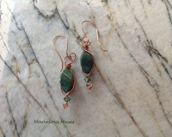 Jade and Copper Earrings