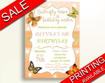 Butterfly Birthday Invitation Butterfly Birthday Party Invitation Butterfly Birthday Party Butterfly Invitation Girl butterfly kisses MJ9H8