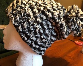 Gorgeous black and white Pom Pom hat!
