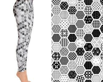 Hexagon Patchwork, Geometric Leggings, Quilt Pattern, Black and White Leggings, Funky Leggings, Unique Leggings, Designer Leggings