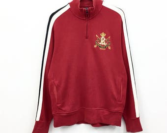 Rare!!Vintage Polo Ralph Lauren Sweatshirt PRl Small logo half zipped Sweatshirt Hip Hop Swag Lo life Black Cmtnv