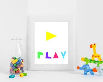 Play Instant downlod, Nursery Wall art, Colorful Print, Nursery wall art, Printable kids art, Nursery decor, baby nursery art Play art print