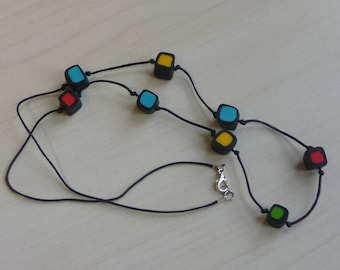 Fimo necklace, Fimo beads, polymer paste, gift idea for her, licorice Fimo, grouper, gift necklace, handmade gift