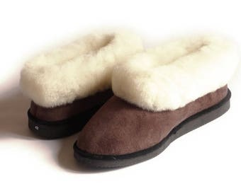 Mixed coffee leather Sheepskin slippers