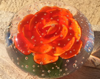 Vintage Controlled Bubble Handmade Orange Flower Paperweight