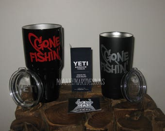 "YETI RAMBLER custom made with ""Gone Fishin"" logo,20oz Yeti or 30oz Yeti Choose size and color,Personalized Yeti Rambler"