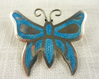 OBO - Vintage Jeronimo Fuentes Mexico Sterling Silver and Enamel Butterfly Brooch