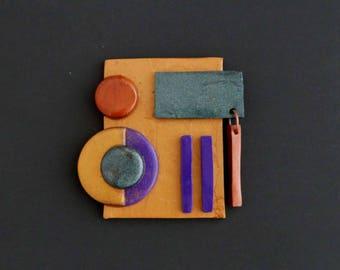 "BROOCH #1 ""Divali"" polymer clay art jewel"