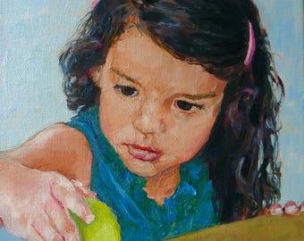 "Original Custom Child Portrait Oil Painting - 12""x16"" Canvas"