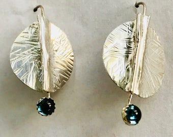 Sterling Silver Pod Earrings with bezel set London Blue Topaz