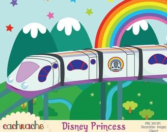 Ferrocarril Junior Express clipart - Topa y amigos - Disney Junior, imagenes prediseñadas PNG JPG 300 dpi - Instant download