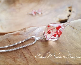 Necklace with resin pendant * Flower Dream *