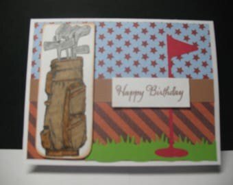 Golf Lover ,Birthday Card, golf bag, tee, golf game,