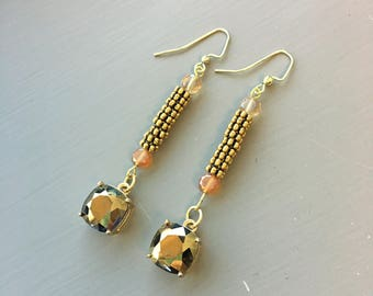 Fun Gold Jewel Drop Earrings!