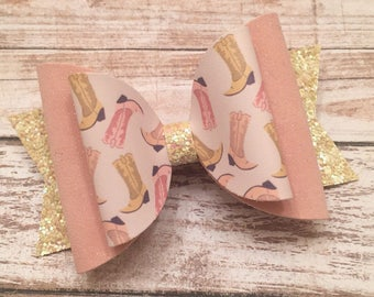 Double layer, glitter bow, glitter, Rodeo, Boots, Cowboy