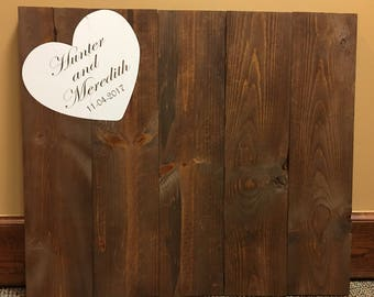 Wooden sign guest book