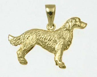 Spaniel Dog Charm Pendant - 3D Hand Crafted Necklace in 14K Gold & 925 Sterling Silver  (Item 24-22)