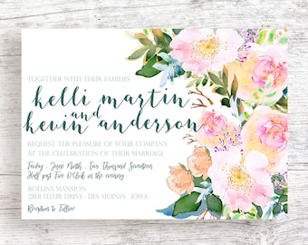 Tilted Floral Wedding Invitation - Customized and Printable
