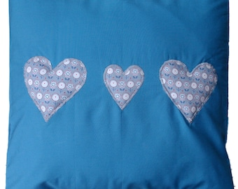 "Blue with Hearts Cotton Cushion Cover 16"" x 16"""
