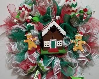 Gingerbread House Deco Mesh Wreath