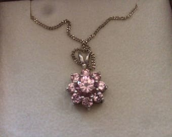 Sterling Silver Necklace Pink Tourmaline Pendant - Beautiful & Sparkly