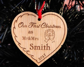 Personalised Christmas Tree Heart Decoration 'Our First Christmas' Mr&Mrs