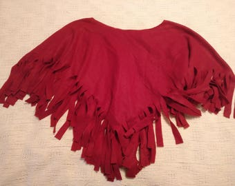 Fringed V-Neck Fleece Cape (Variety of Colors)