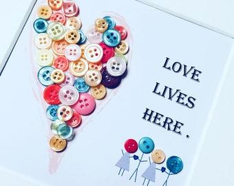 Love lives here box frame