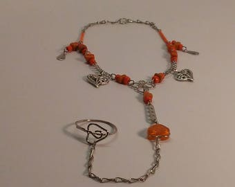 Heart Charm Anklet with Toe Ring