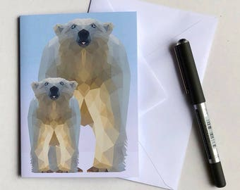 Cute low poly Polar Bear with baby cub, Note Card  / Greeting Card